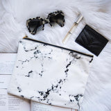 Marble Cosmetic Bag Flat Lay