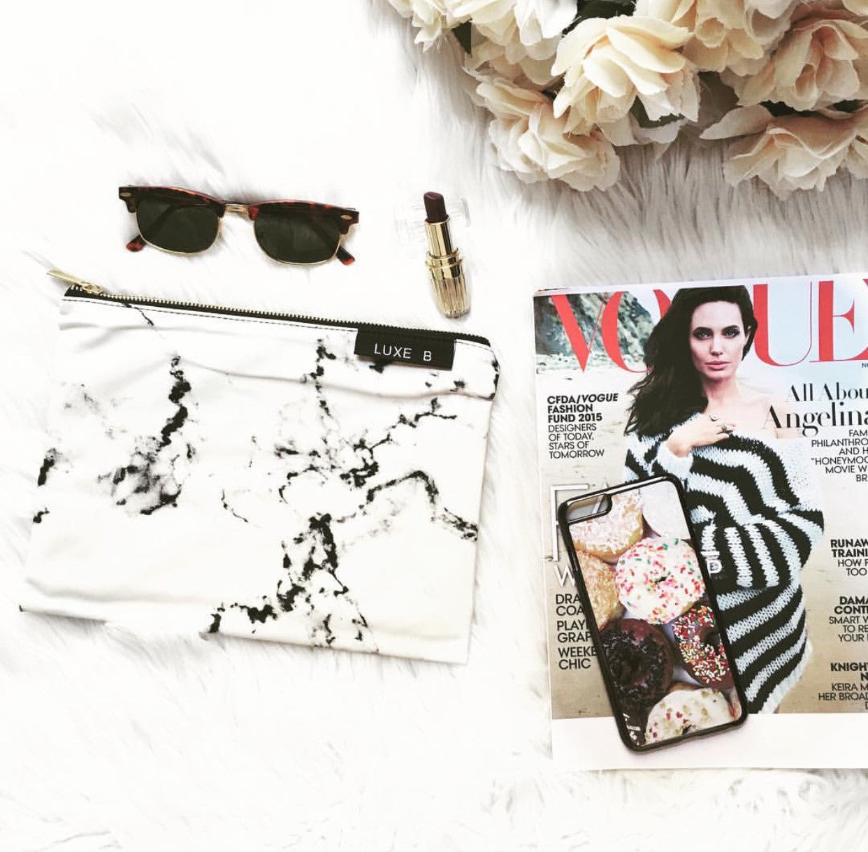 Marble makeup bag by luxe blogger