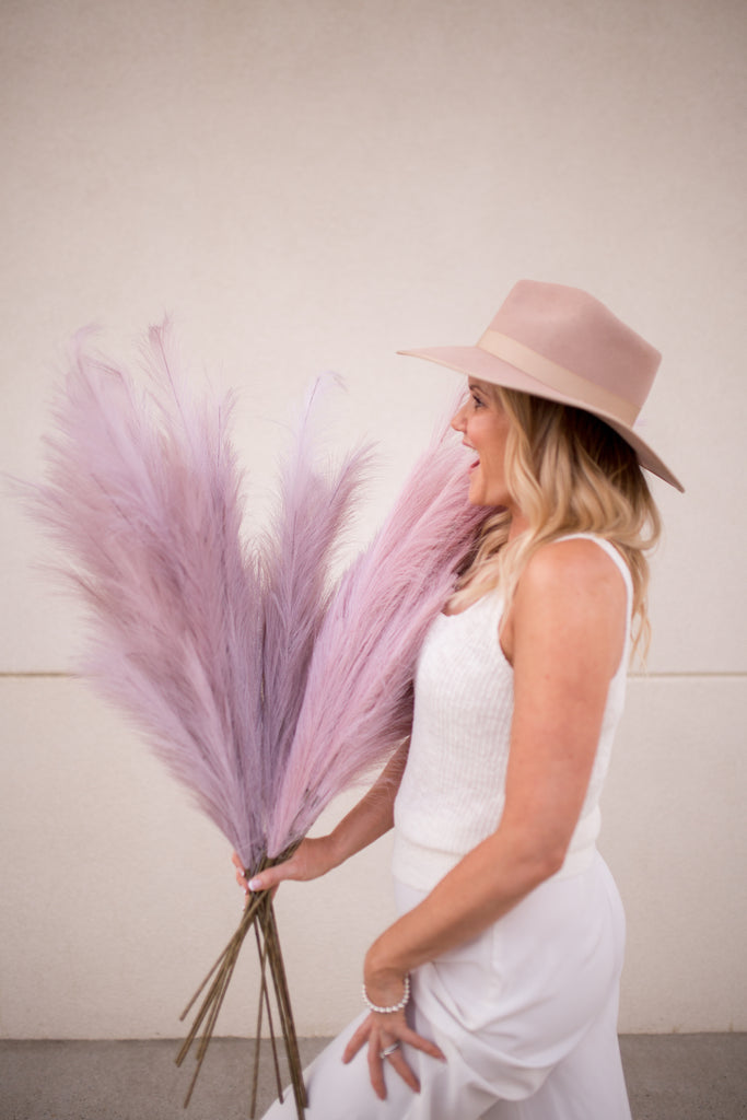"Luxe B ""Faux"" Artificial Pampas Grass Lilac Gray"
