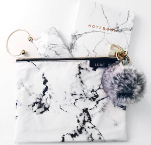 Classic Marble Makeup bag and LUXE B Raccoon Pom Pom Keychain