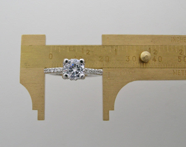 Petite Gold Diamond Accent Engagement Ring For Gems