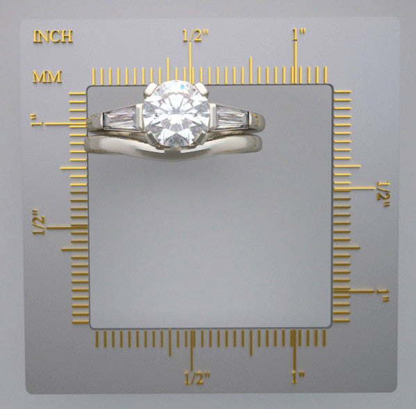 FEMININE TRADITIONAL BAGUETTE DIAMOND BRIDAL RING SETTING SET
