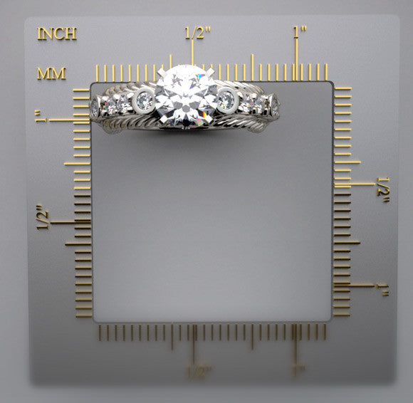 UNUSUAL ENGAGEMENT RING SETTING WITH FEMININE DIAMOND ACCENTS