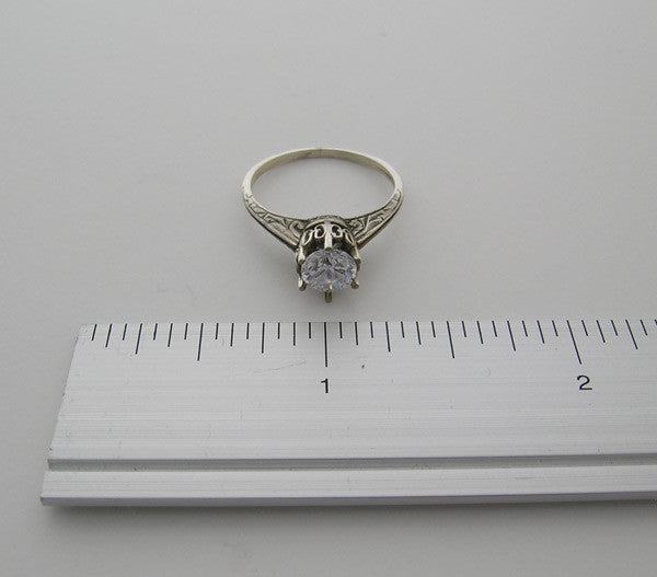 14K White Gold Vintage Style Ring Setting With Engraved Design 5.5 MM Round Gemstone