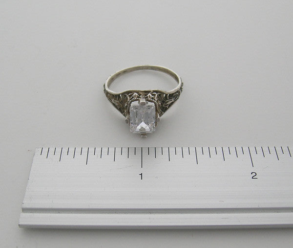 FLORAL AND BOW MOTIF  ART NOUVEAU ANTIQUE TYLE  RING SETTING