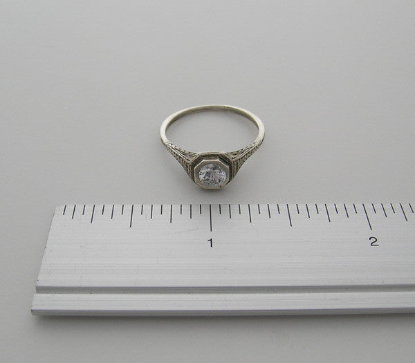 14K ANTIQUE STYLE RING SETTING OLD WORLD ENGRAVED DESIGN