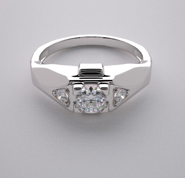 NON TRADITIONAL THREE STONE DIAMOND ACCENT PINKY RING SETTING