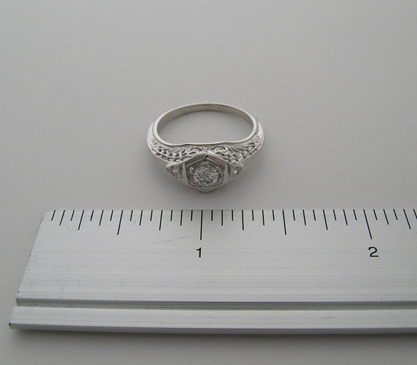 PETITE 14K WHITE GOLD FRIENDSHIP RING ANTIQUE STYLE