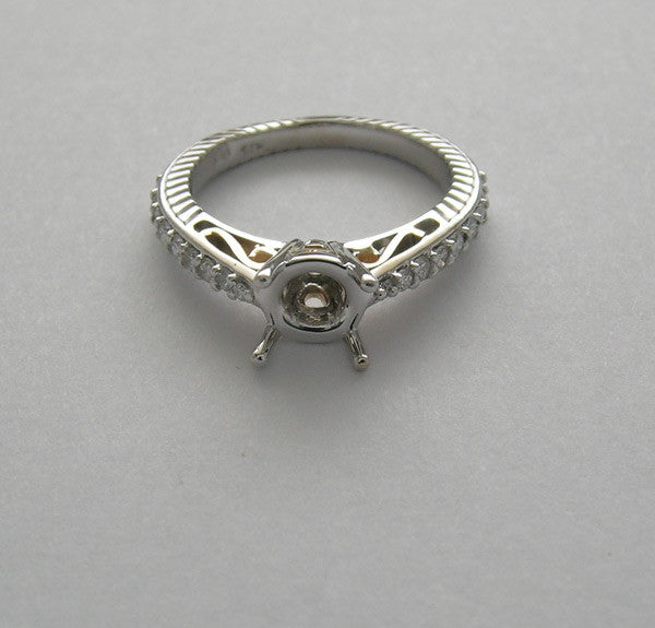 UNUSUAL FEMININE  TWO TONE GOLD DIAMOND  ENGAGEMENT RING SETTING