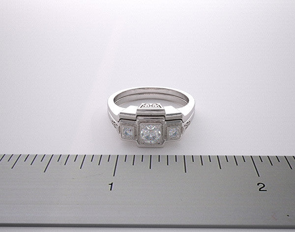 NON TRADITIONAL UNIQUE THREE STONE RING SETTING SET