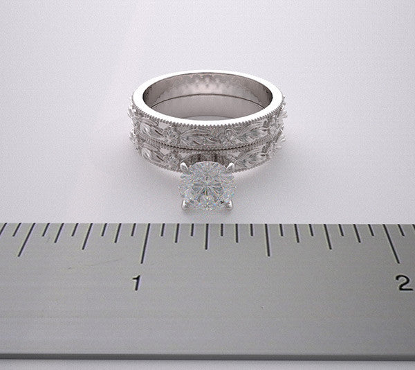 Platinum Wedding Bridal Rings Set