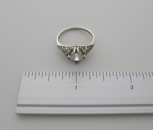 gold ring setting antique style 6.00 MM center