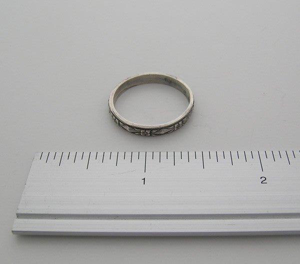 WEDDING RING BAND 14K GOLD ANTIQUE VINTAGE ART DECO STYLE WITH ENGRAVING