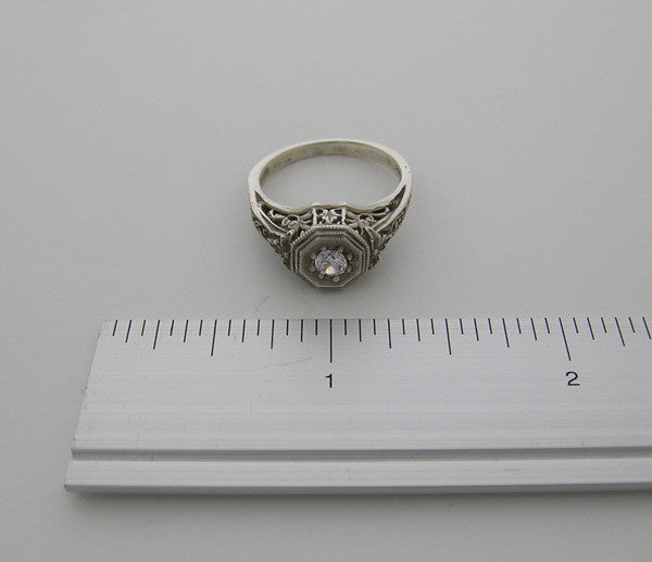 14K White Gold Antique Style Ring setting 4.00 MM