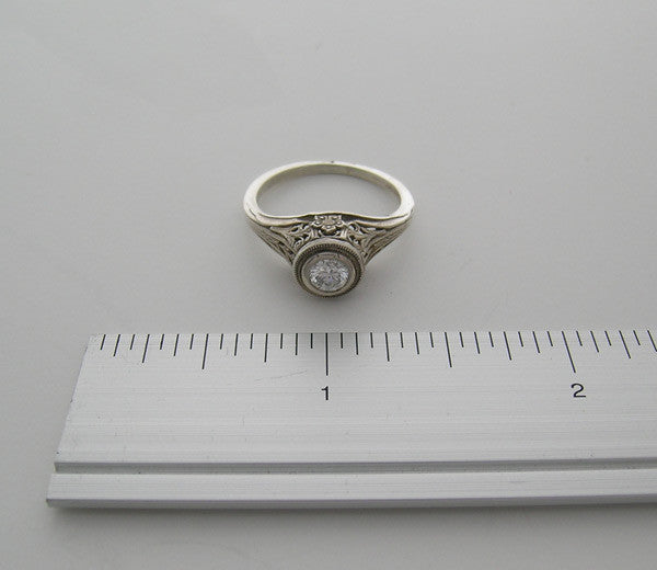 14K GOLD RING SETTING OLD WORLD STYLE ENGRAVED DETAILS