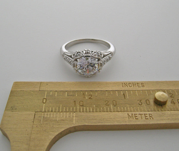 White Gold Ring Setting Vintage Look