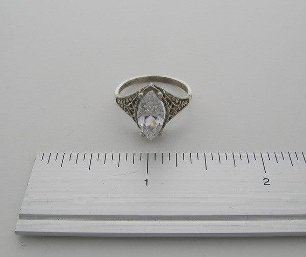 ENGAGEMENT RING SETTING UNUSUAL ANTIQUE STYLE FILIGREE AND ENGRAVED WORKMANSHIP