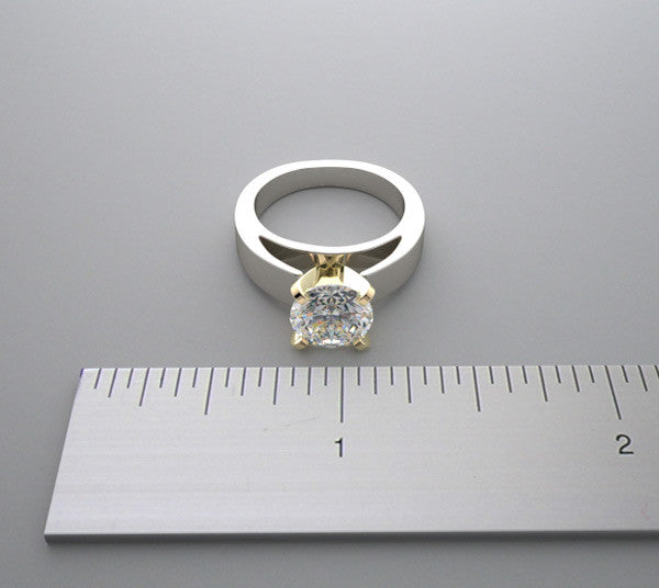 TRADITIONAL ELEGANT HEFTY TWO TONE SOLITAIRE RING SETTING