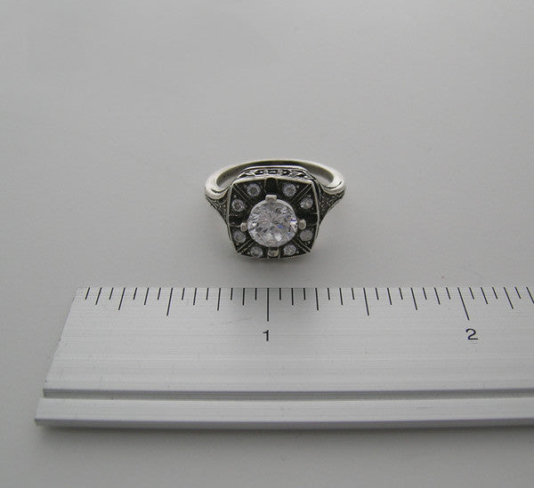 ANTIQUE STYLE RING SETTING WITH DIAMOND ACCENTS