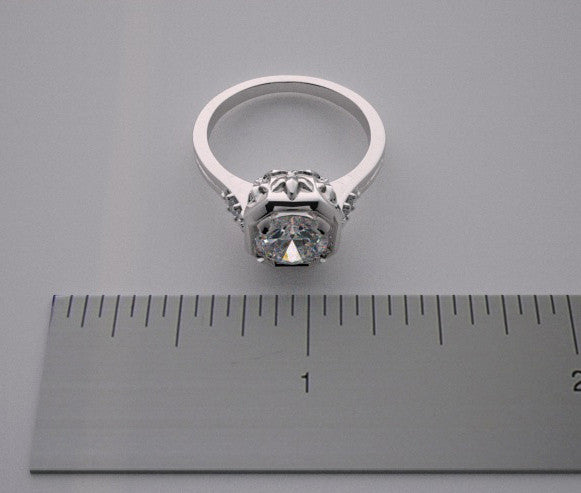 SPECIAL ART DECO STYLE FEMININE RING SETTING PRETTY DIAMOND DETAILS