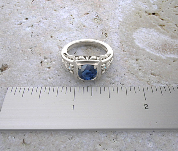 14K Lotus Flower Leaf Sapphire Ring video