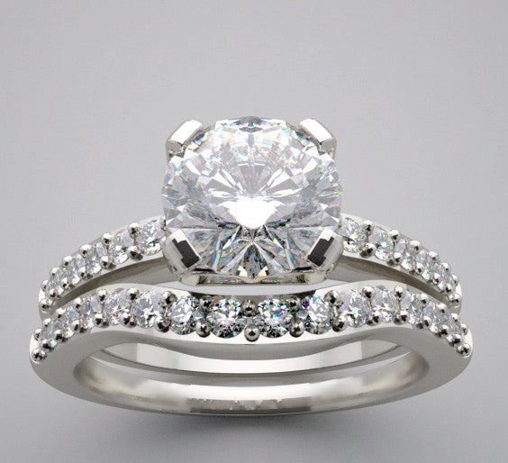 Engagement Bridal diamond Ring setting set for a 6.5 mm round diamonds