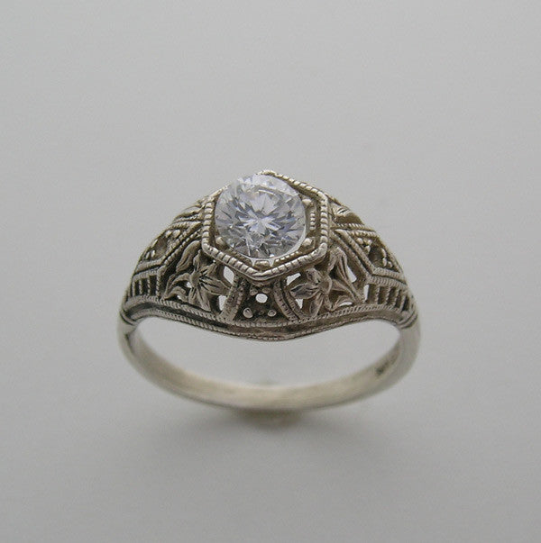 Floral Engagement Antique Style Deco Ring Setting for a 5.00 mm Gemstone