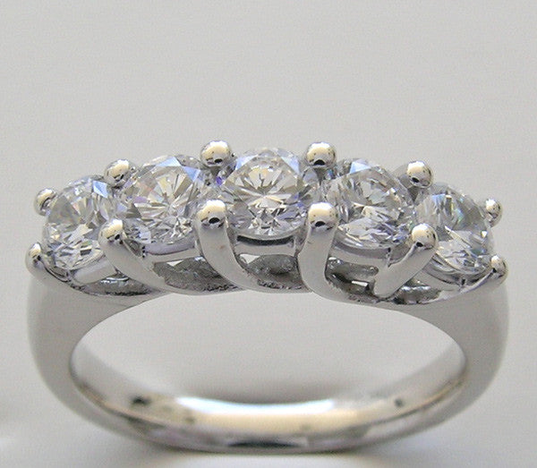 14K White Gold Five Stone Diamond Wedding Ring