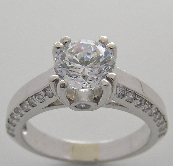 Diamond Engagement ring setting for a 6.50 mm diamond