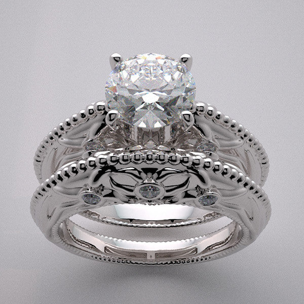 Nature Inspired Floral Design Diamond Bridal Wedding Ring