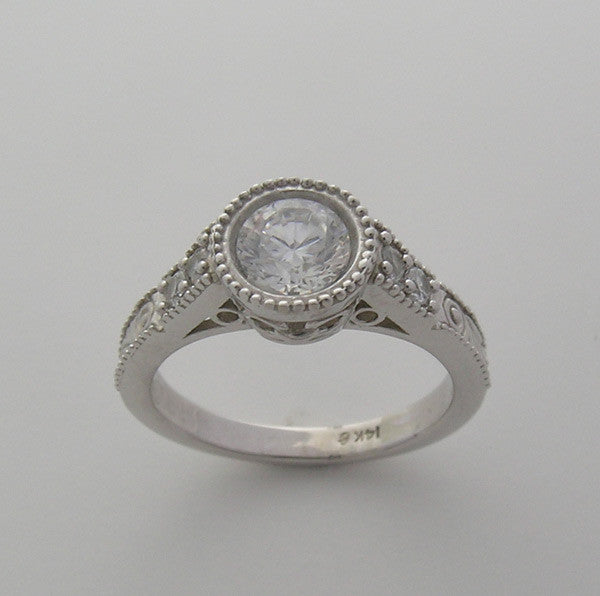 Vintage Style Diamond Engagement Ring Setting for a 1.00 Carat Diamond