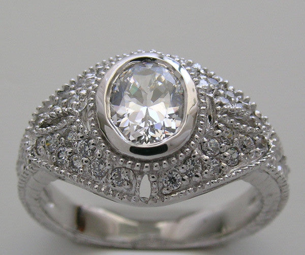 OVAL SHAPE 7.00 X 5.00 MM ANTIQUE STYLE MIL GRAINED DIAMOND ENGAGEMENT RING SETTING