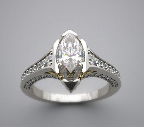 Marquise Shape North and South Engagement Ring Setting
