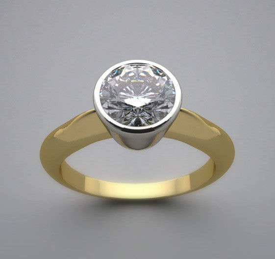 Two Tone Solitaire Bezel Ring Setting for a 6.50 mm or 1.00 Carat Round Diamond