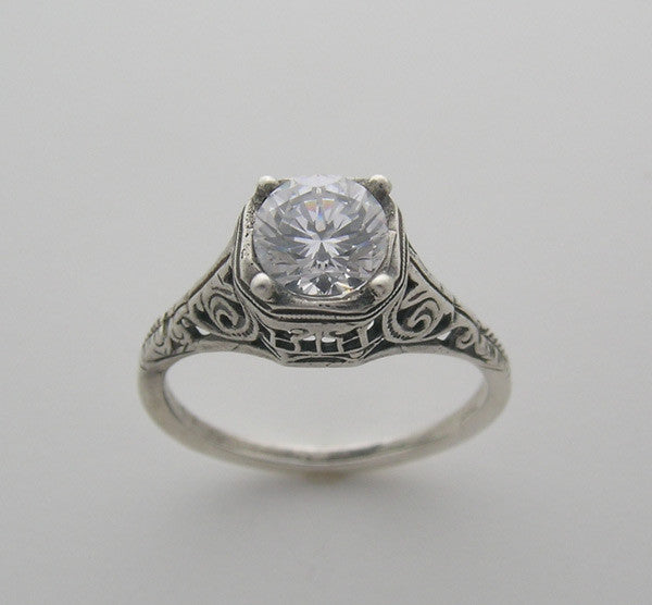 Engagement Ring Setting filigree Art Deco Style for a 6.00 mm round center diamond