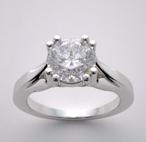 Double Prong solitaire ring setting to fit a 1.00 Carat round shape diamond