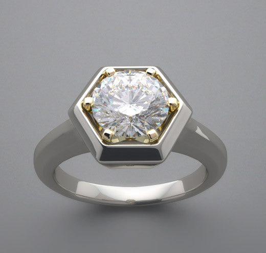 Hexagonal Framed Solitaire Engagement or Right Hand Ring Setting for a  6.5 mm Round Diamond