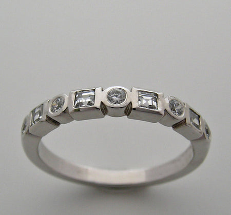 STACKABLE DIAMOND WEDDING BAND RING MULTIPLE SHAPES AND SIZES