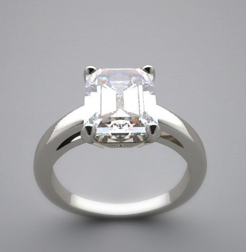 ENGAGEMENT RING SETTING FOR AN EMERALD SHAPE 9.00 X 7.00 MM