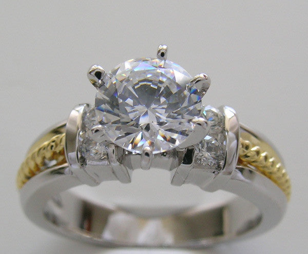 Two Tone Diamond Ring Setting or Remount for a 6.50 mm Round Diamond