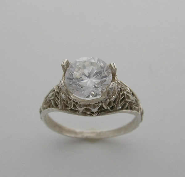 FILIGREE RING SETTING WITH BOW DESIGN 14K