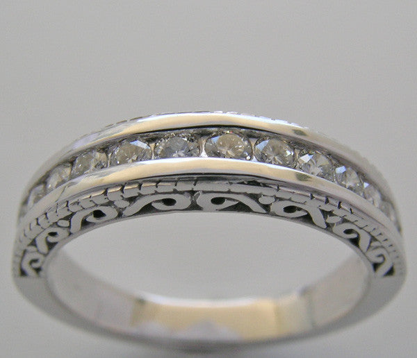 DIAMOND ETERNITY WEDDING RING BAND OLD WORLD DESIGN