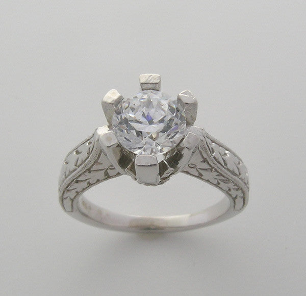 SIX PRONG ENGAGEMENT RING SETTING OR REMOUNT WITH ENGRAVED DETAILS