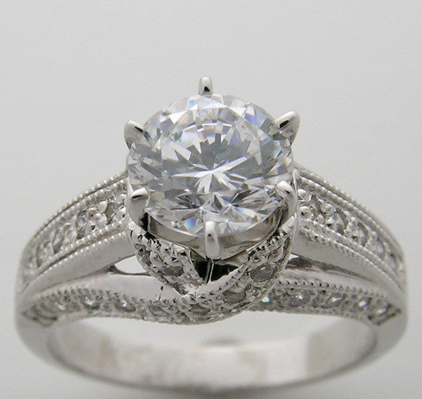 Engagement Diamond Ring Setting for a 6.5 mm Diamonds or Gemstone