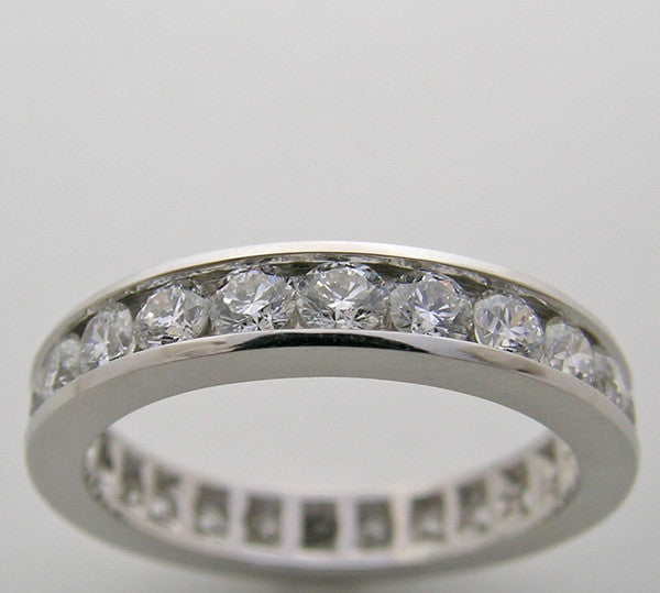 Channel set classic diamond eternity band ring