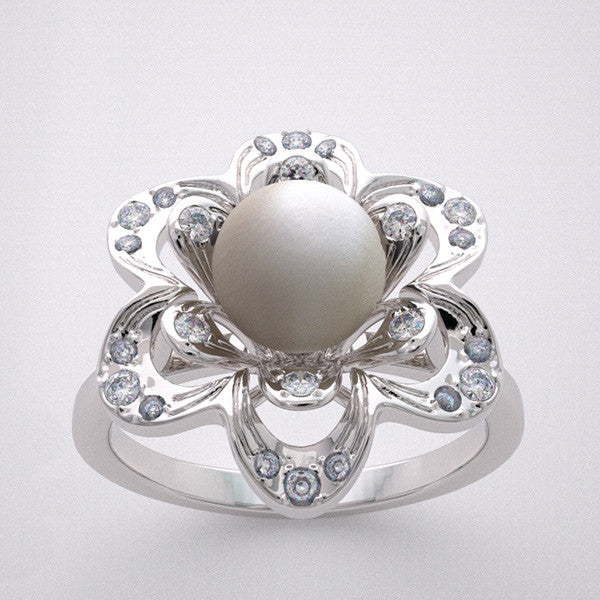 CREATIVE PEARL DIAMOND ENGAGEMENT RING