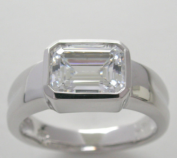 Wide Bezel for Emerald Cut Engagement ring setting