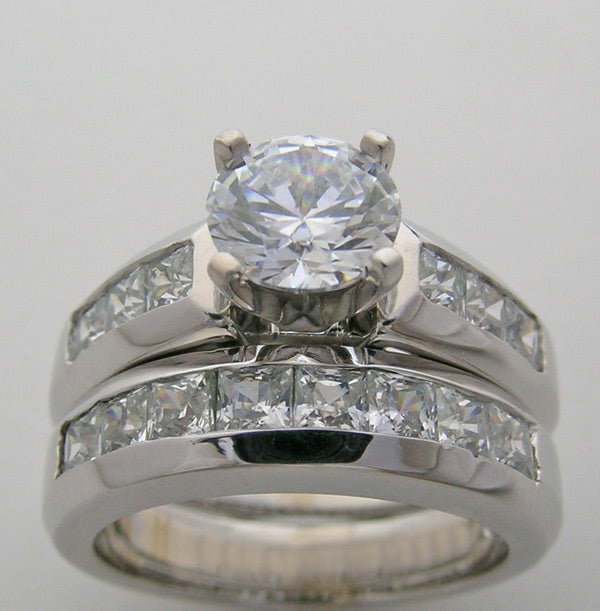PRINCESS CUT DIAMOND BRIDAL RING SETTING SET