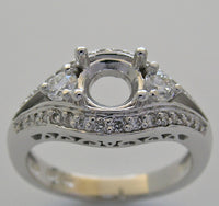 PLATINUM TIMELESS VINTAGE STYLE RING SETTING  ROUND GEM 6.5 MM