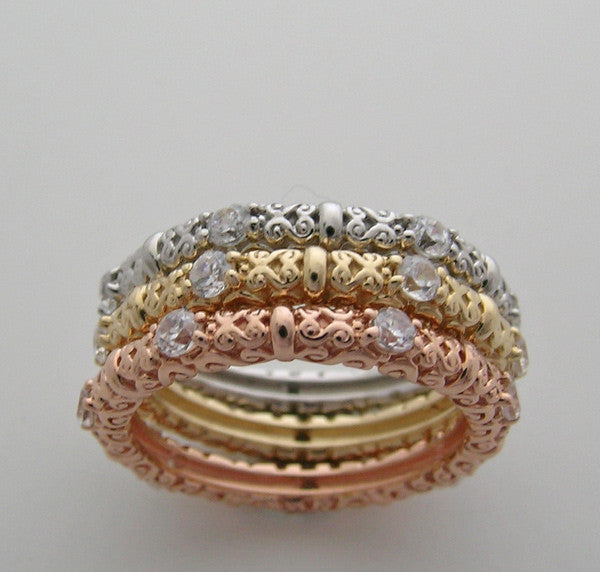 TRI COLOR DIAMOND STACKABLE RING BAND SET